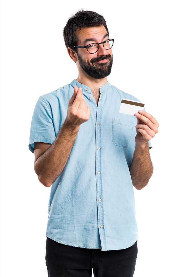 Impresora de gafetes PVC - hombre con tarjeta